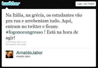 Twitte de Arnaldo Jabor