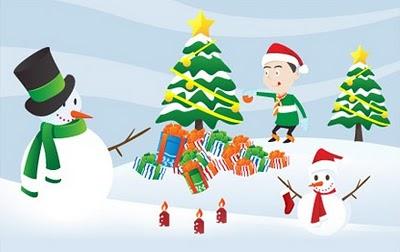 Árvore de Natal e Boneco de Neve