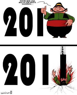 Gordo sendo esmagado pelo ano novo